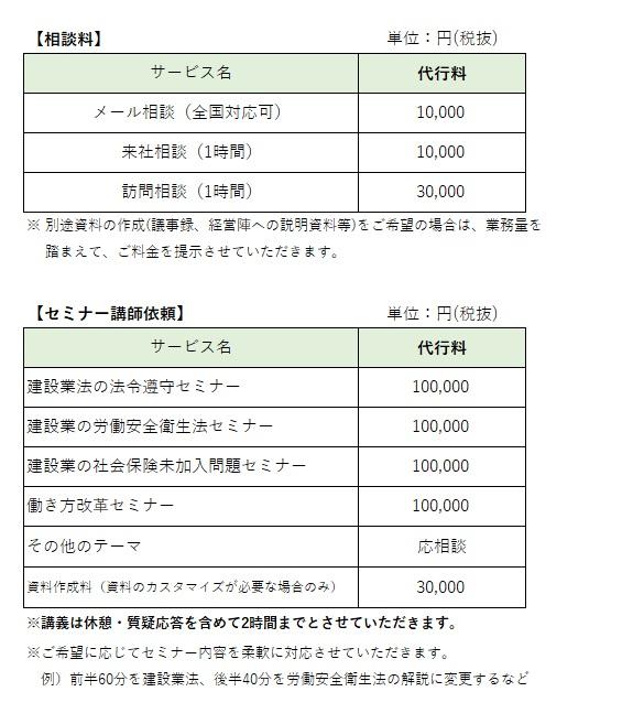 各種相談、セミナー講師依頼の価格表